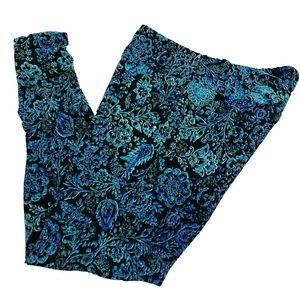 LulaRoe Leggings Tall & Curvy 12 to 18 Blue Floral